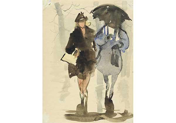 """""""Дождь"""", бумага, акварель, 1960-е"""