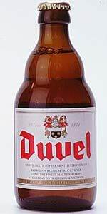 Duvel - Fruity yeast and apples dominate aroma. Juicy fruit, gummy candy, skunk, esters, banana, tinge of alcohol, leafy hops, cereal grain.
