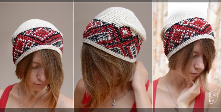 knitted crochet hat with embroidery in Ukrainian style