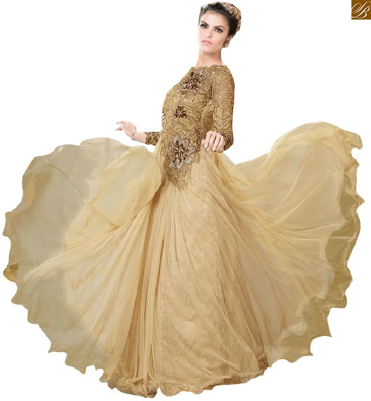 Smart Embroidery & stone work on Princes-cut Neck, Back, Bodice & long sleeves of Brown Net Maxi. Stylish party gowns online shopping India for smart teen girls
