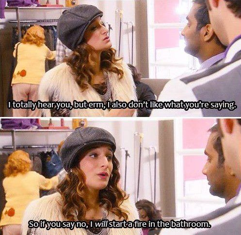 Mona-Lisa (Jean-Ralphio's sister) from Parks and Recreation. I love this character; I hope she sticks around!