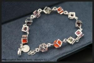 925 Sterling Silver Filled Cube Bracelet with Coloured Crystals