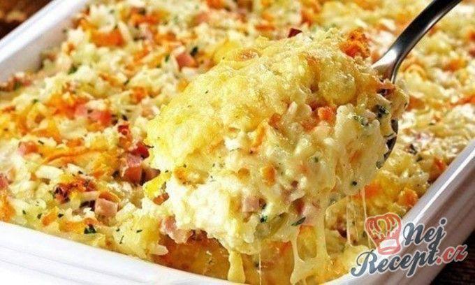 Pečená rýže se šunkou a sýrem