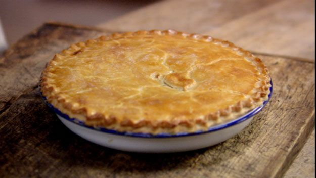 Chicken and leep pie, one of my bro's favourites - http://www.channel4.com/4food/recipes/tv-show-recipes/the-fabulous-baker-brothers-recipes/classic-chicken-and-leek-pie-recipe  Takes him back to his boarding school days.