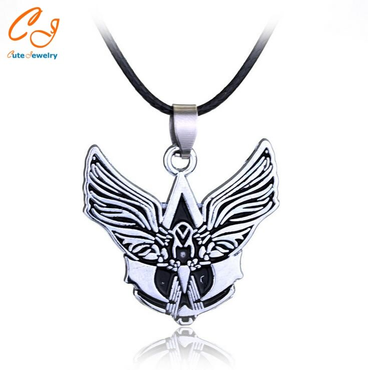 Movie Jewelry Hot Anime Assassins Creeds Alloy Necklace Anime Fans Jewelry Black Wings Assassins Creeds Rope Chain Pendant