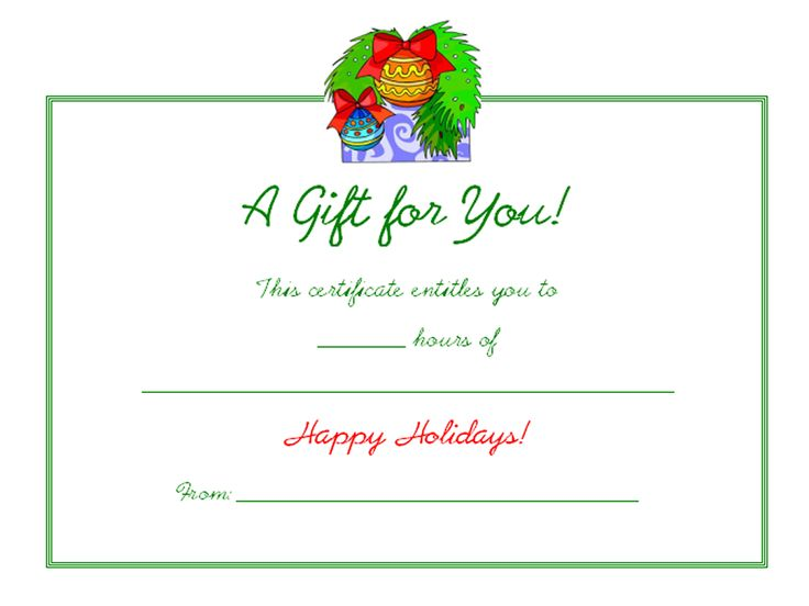 17 Best images about Gift Cert Templates – Printable Christmas Gift Certificate