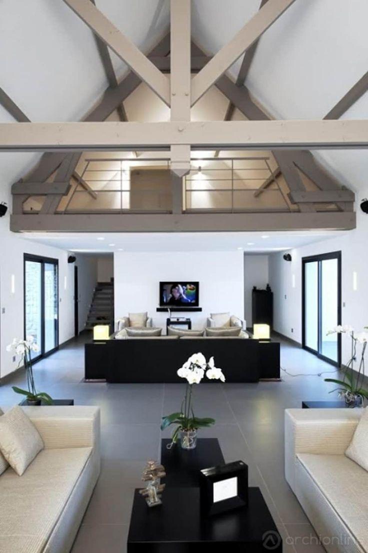 Photos de salon de style de style moderne rénovation dune maison traditionnelle en maison moderne et luxueuse sur