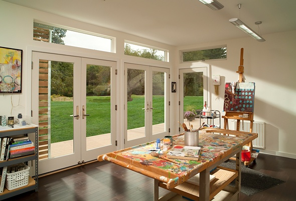 Two Sets Of French Doors Next To Each Other For Living