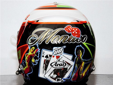 Sergio Perez helmet featuring 'Black Jack' a famous game of Casinos.