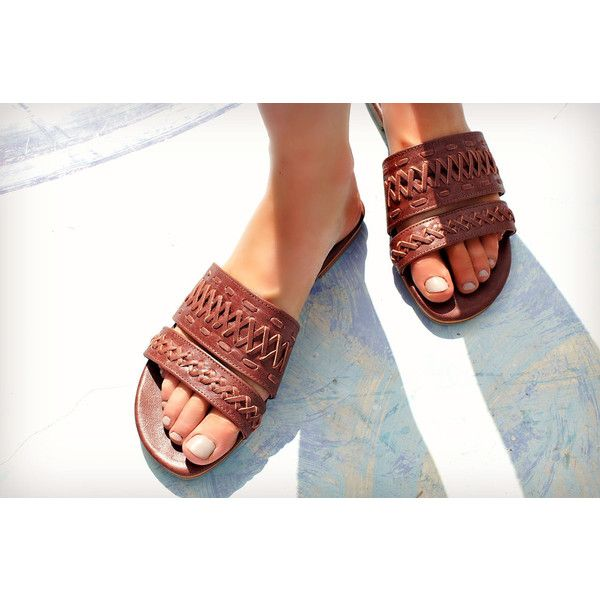 Heaven Brown Leather Slides Sandals Brown Shoes Women Leather Slide... (145 AUD) ❤ liked on Polyvore featuring shoes, sandals, brown, slingbacks & slides, women's shoes, leather slingbacks, leather sandals, brown leather shoes, brown slingback shoes and long sandals