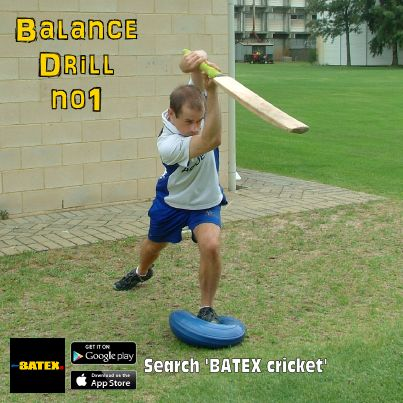 Balance drill number 1: Step onto a balance pad with your front foot. Play a straight drive. Hold shape for 5 seconds.
