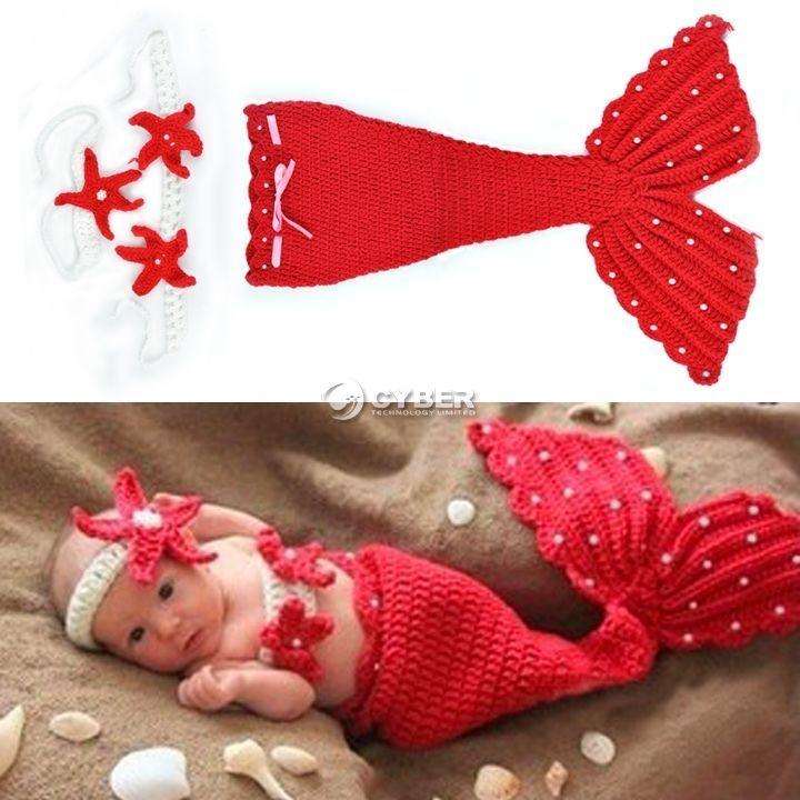 $10.60 Baby Girl Boy Newborn Knit Crochet Mermaid Mini Clothes Photo Prop Outfit DZ88 #New #CutePerle #birthdaypartyandphoto