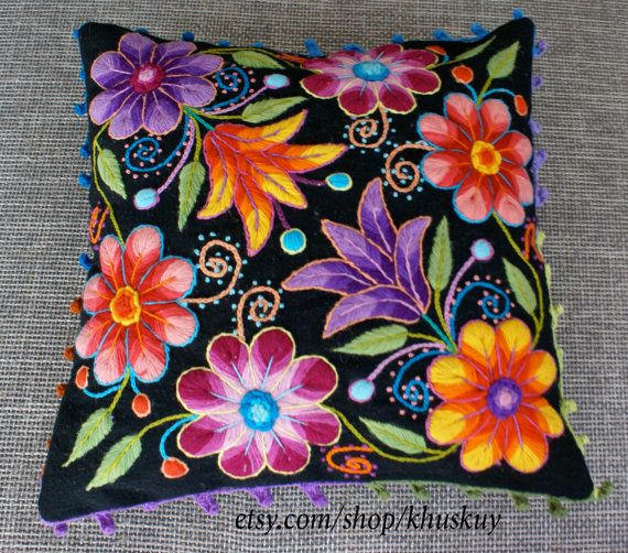 Peruvian Pillow cushion covers Hand embroidered flowers Sheep & alpaca wool 16 x…