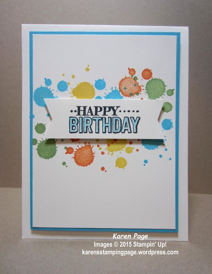 Birthday card made using Stampin' Up! Big Day stamp , and Gorgeous Grunge stamp set