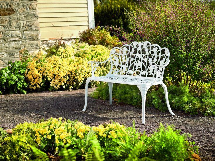 Amazon.com : Plow & Hearth Grape Vine Design Two-Seat Garden Bench - Powder Coated Cast Aluminum, in White : Outdoor Benches : Patio, Lawn & Garden