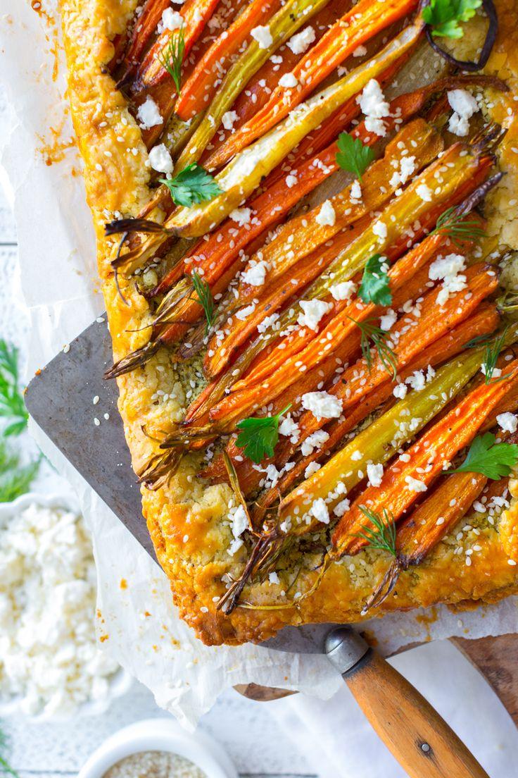 Roasted Carrot & Herby Feta Galette by Baking The Goods     @beckysuebakes     bakingthegoods.com