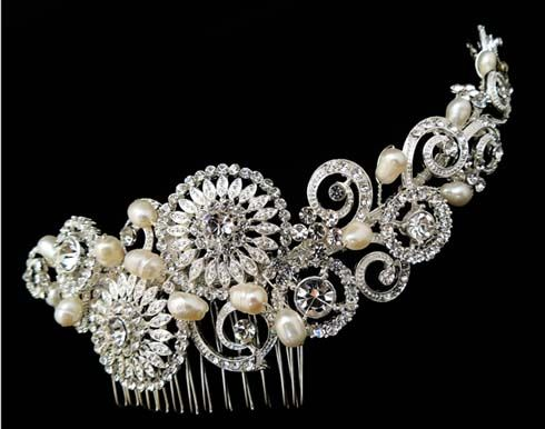 Bridal headpiece with clear crystals and freshwater pearls in silver plated setting.