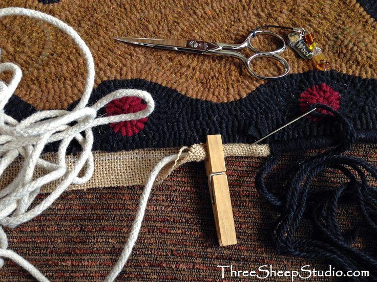 Binding A Hooked Rug   ThreeSheepStudio.com