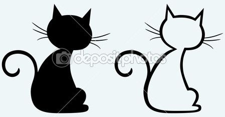 Gato negro silueta — Ilustración de stock #11445931                                                                                                                                                      Más