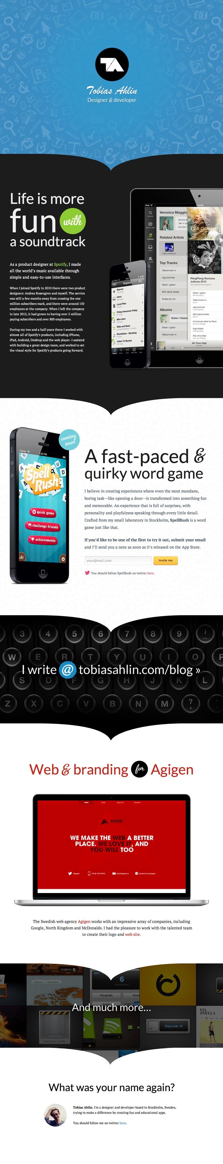 Tobias Ahlin — Designer & Developer  tobiasahlin.com
