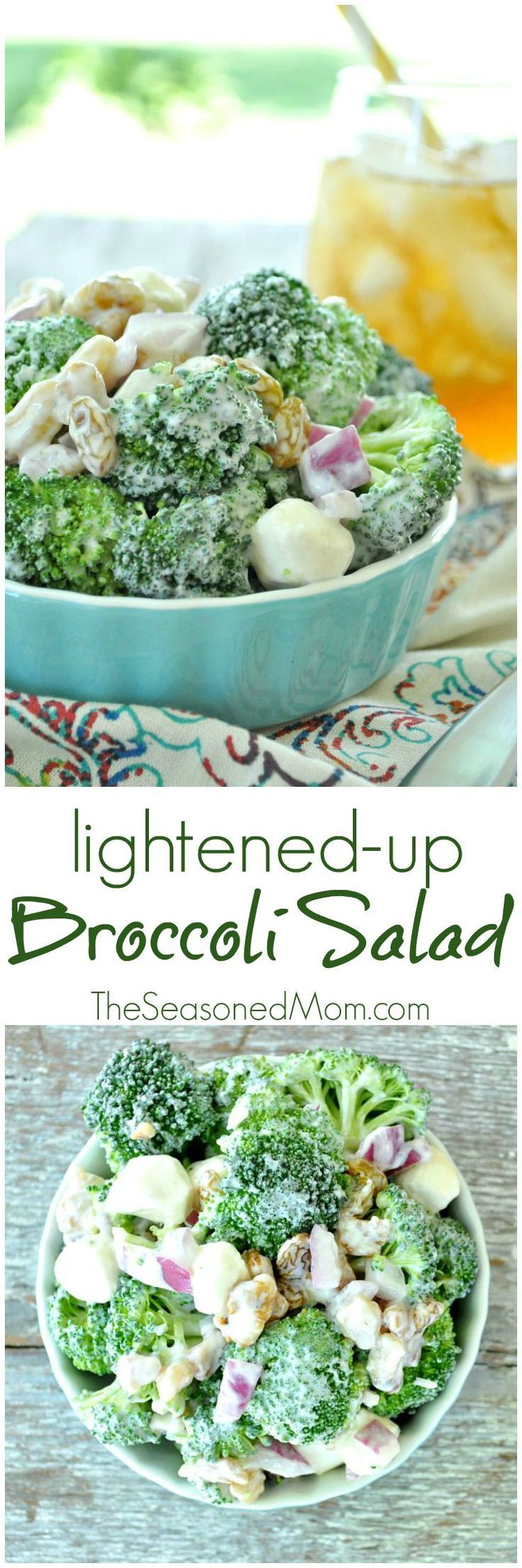 This Lightened-Up Broccoli Salad is packed with a variety of textures and flavors for a crowd-pleasing side dish that comes together in just minutes! This is simple, healthy, clean eating food that tastes amazing! #ad #FinestGrillathon