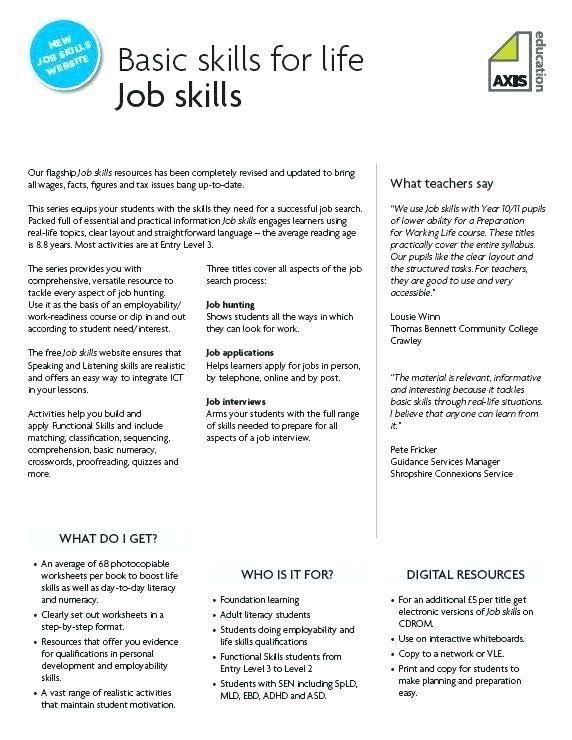 Free Printable Life Skills Worksheets Skill Worksheets Munication Skill Worksheets Job Skills Life Skills Teaching Life Skills