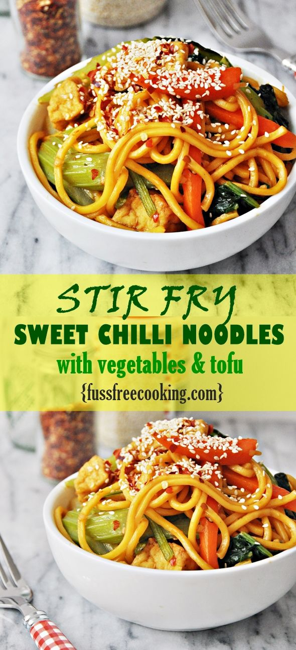 Stir Fry Sweet Chilli and Hoisin Sauce Noodles with Chinese Vegetables and Tofu.
