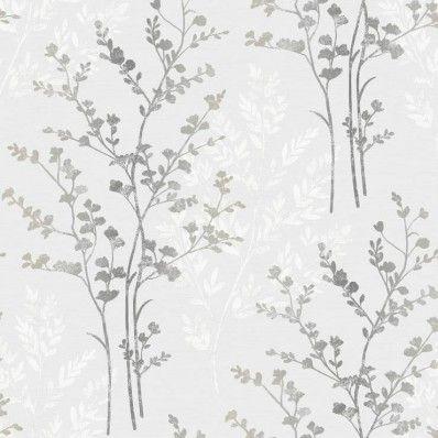 Silver / White / Grey - 250404 - Fern - Motif - Arthouse Wallpaper