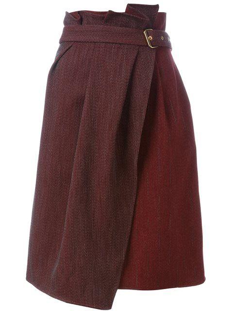 Lanvin юбка с запахом и поясом