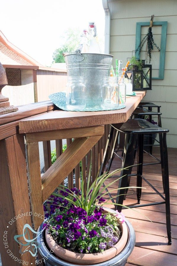 Create additional seating for your deck by building a flip up deck bar. Perfect for parties and entertaining for your outdoor living space. by DeDe Bailey