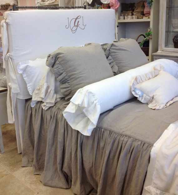 LoVE LOVE LOVE this bedding!!!!!!!!!!!!! Flax Linen Ruffled Bedspread Queen Size by ldlinens on Etsy, $485.00