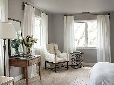 Master Bedroom With Grey Walls White Curtains