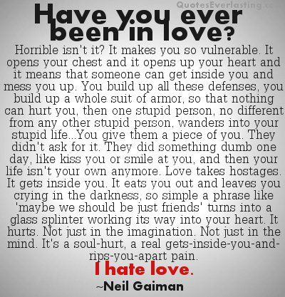 I hate love - Neil Gaiman