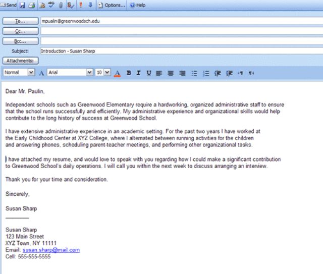 email cold contact cover letter sending - Cover Letter In An Email