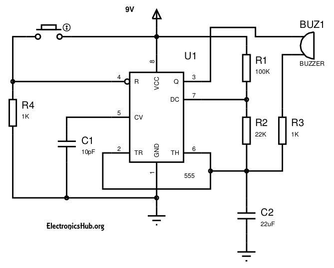 Panic Alarm Circuit: This is a circuit named panic alarm which can help us to intimate others regarding our bad situation without any delay. For more information about this circuit, visit http://www.electronicshub.org/panic-alarm/