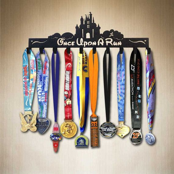 Disney Race Medal Holder - Once Upon A Run 10 ,Running Medal Holder by SportHooks, Medal Hanger, Medal Rack for all your runDisney medals.