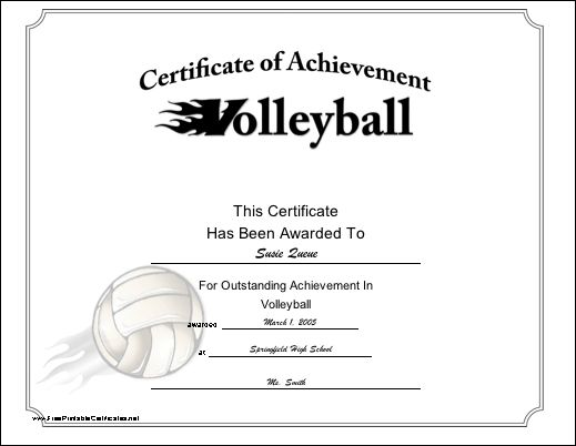 An exciting certificate of achievement for a volleyball player or team. Besides a dynamic volleyball image, the design shows the V in the title on fire. Free to download and print