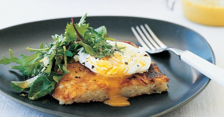 These crunchy potato fritters are topped with a sprinkle of melted gruyere and a poached egg.