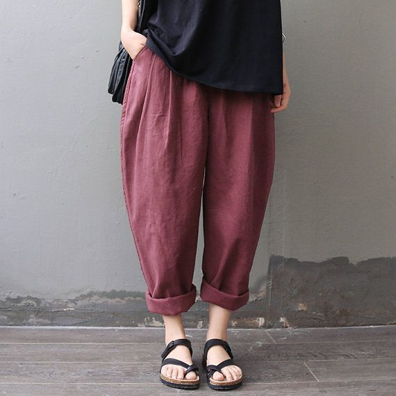 red turnip  pants / wide leg / linen pants /  loose Trousers girls pants AOLO-321 by Ericdress fashion