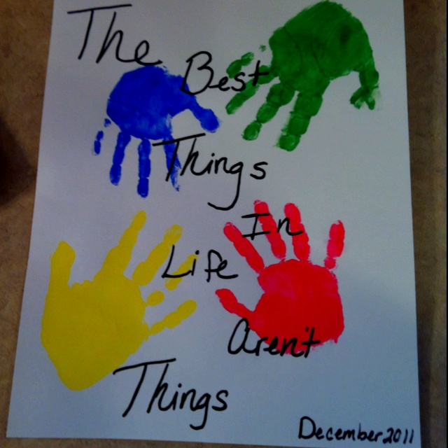 Handprint art for Grandma and Grandpa.