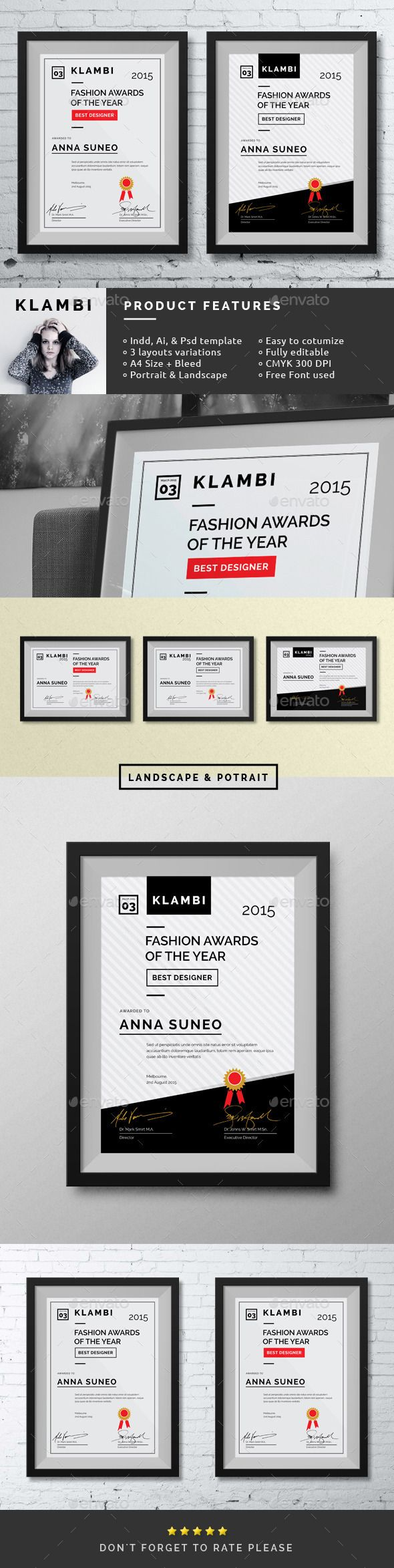 #Fashion Certificate - #Certificates #Stationery Download here: https://graphicriver.net/item/fashion-certificate/10140478?ref=alena994