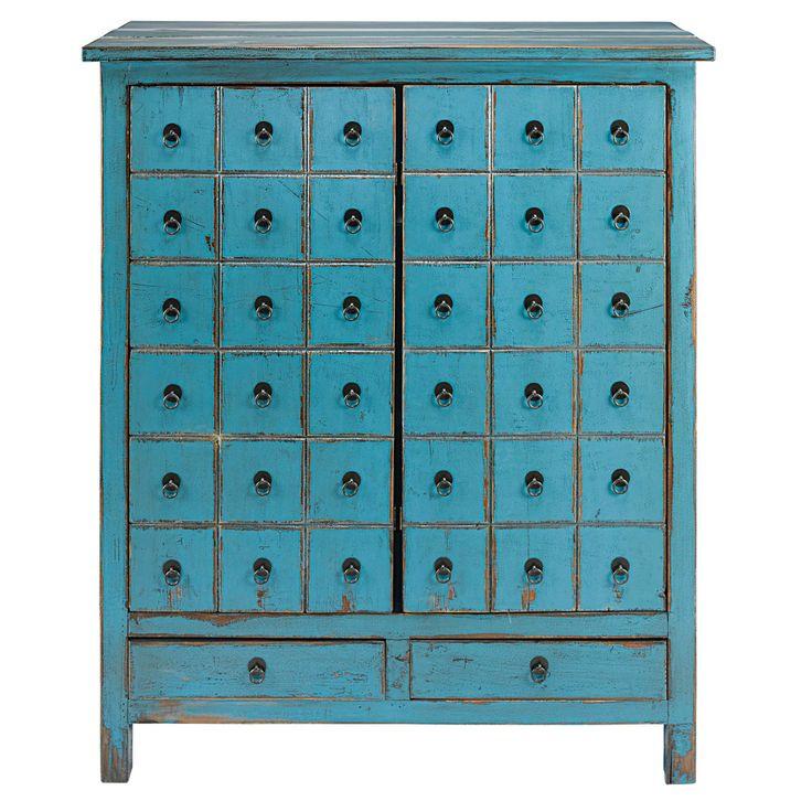 Kommode mit 2 Türen und 2 Schubladen aus Tannenholz blau gealtert