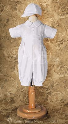 NEW: Boy's Christening Outfit with Pintucks and Baseball Cap