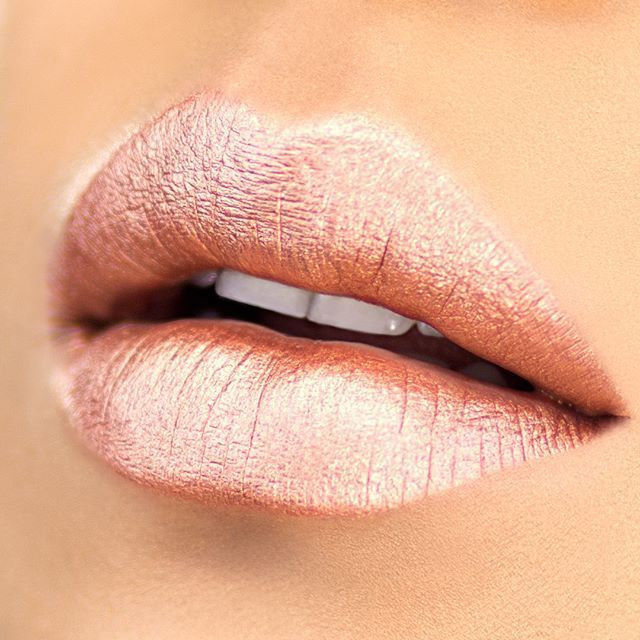 Rose gold lips  Our lip glosses and lip sticks are perfect for any makeup look! Www.glowcultcosmetics.com