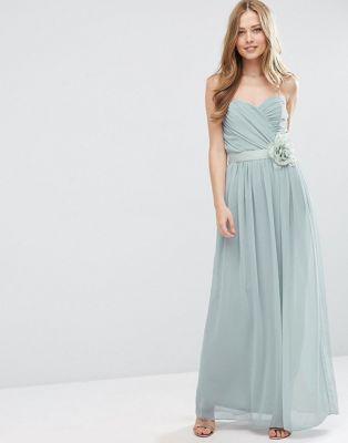 ASOS WEDDING Chiffon Bandeau Maxi Dress with Detachable Corsage