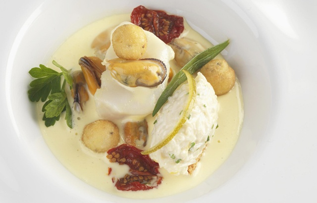 Potage of mussels and salt cod with Whitby crab croutes - Frances Atkins