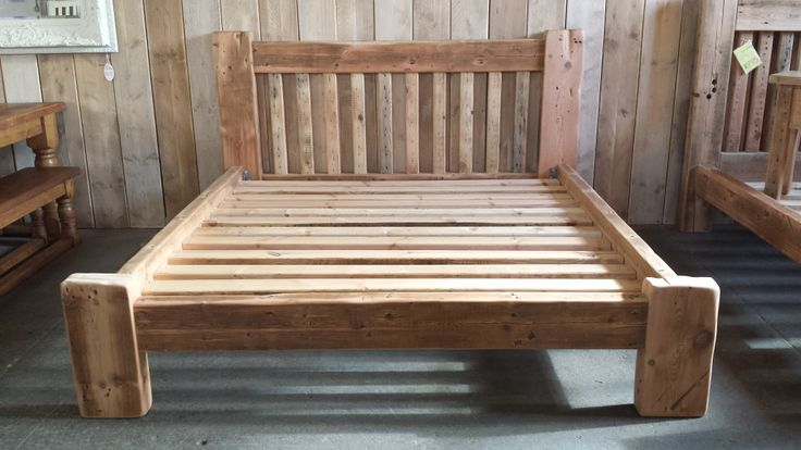Super King sized bed made from reclaimed joists.