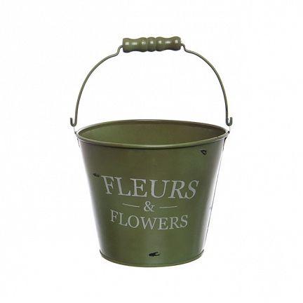 Tin Bucket Jardinier Round Handle 16.5Dx13.5cmH Moss