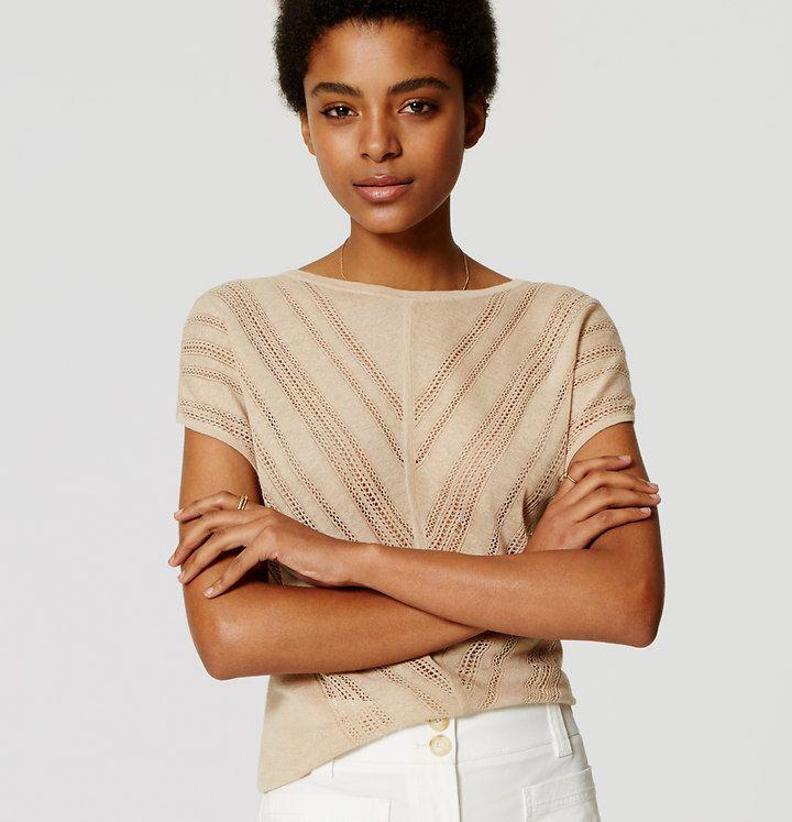 Chevron Pointelle Sweater | Loft