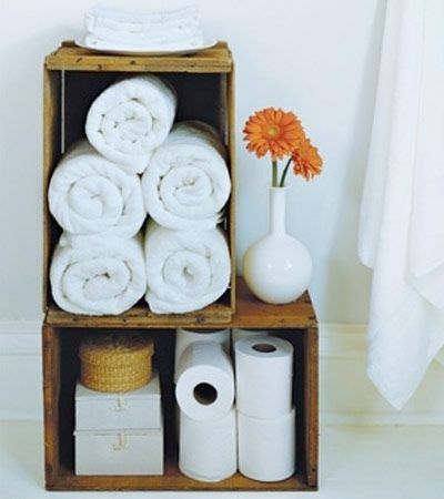 16 Smart solutions for small bathroom ...like the wooden boxes idea